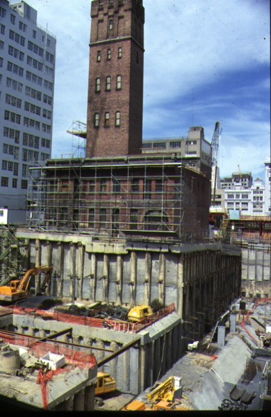 1 coops shot tower & flanking building knox place melb external view construction of melb central