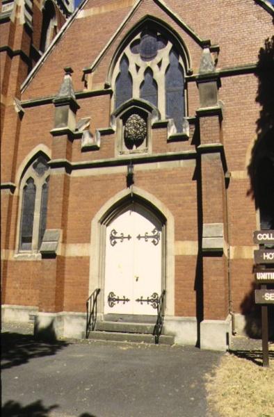 presbyterian college church royal prd parkville detail front entrance jan1997