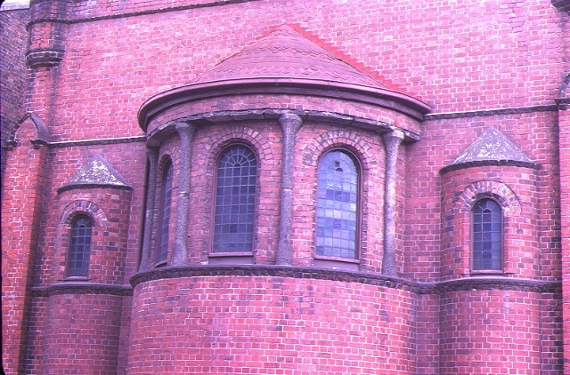 church of the holy annunciation evangelismos 186 victoria prd east melb detail rounded wall sep1981