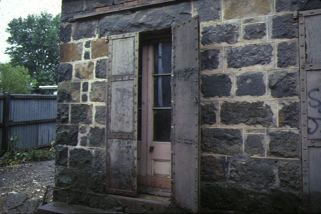 former creswick bluestone gold office detail iron shutters on window dec1982