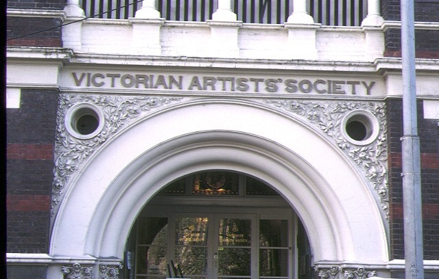 victorian artists society albert street east melbourne detail of front entrance aug1993