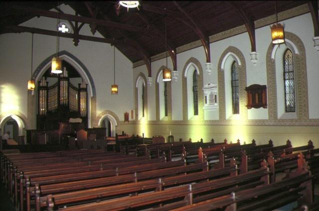 former congregational church brighton interior fron view
