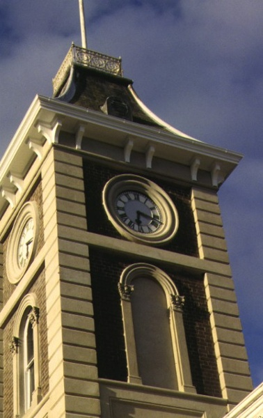 austin hall & terrace complex yarra & mundy streets south geelong detail of clock tower mar1995