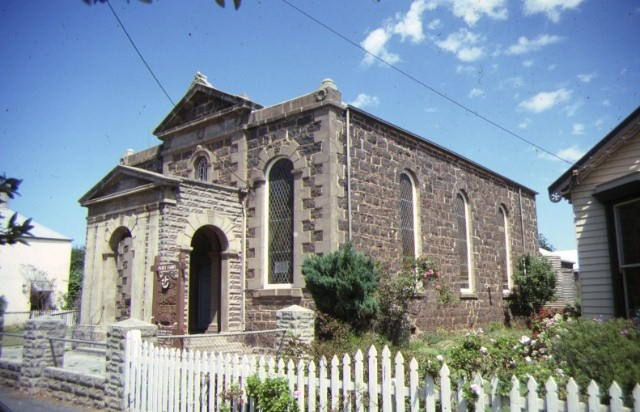 former wesleyan church parsonage & common school james street port fairy front corner view of church feb1990