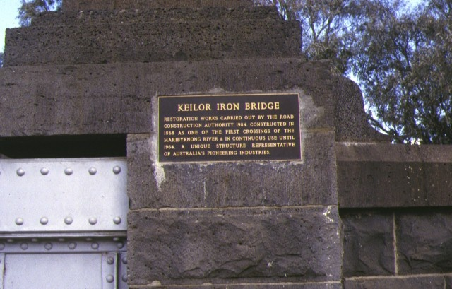iron bridge maribyrnong river plaque detail