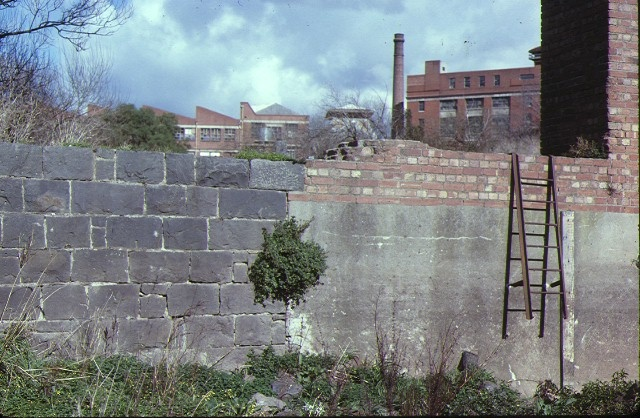 dights mill site dights falls abbotsford wall detail aug1979