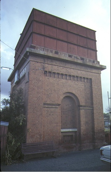 elmore railway station & water tower water tower front view