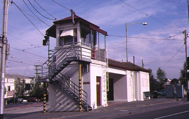 1 tramway signal cabin waiting shelter & cenveniences swanston street malbourne stair view jan1998