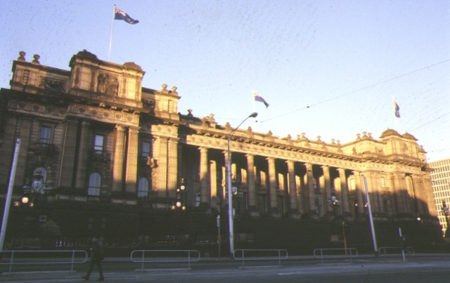 1 parliament house grounds works & fences spring street melbourne front view