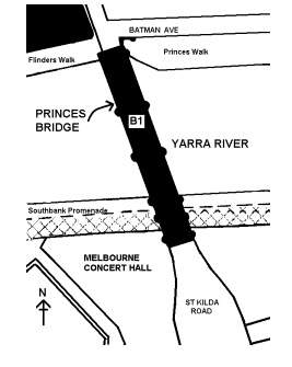 princes bridge over yarra river melbourne plan