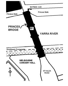 princes bridge over yarra river melbourne plan
