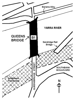 queens bridge over yarra river melbourne plan