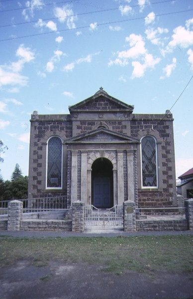 Former Wesleyan Church Parsonage & Common School James Street Port Fairy Front View of Church February 1990