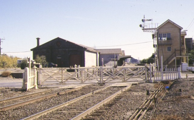 Railway Station Goods Shed & Water Tower Station Street Kyneton Signal Box & gates April 1994