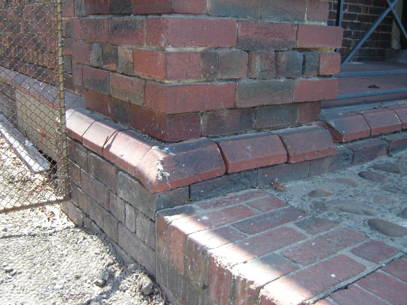 H1343 Existing condition - Exterior, south-east corner, dislodged brickwork and missing mortar. Dec 2006.