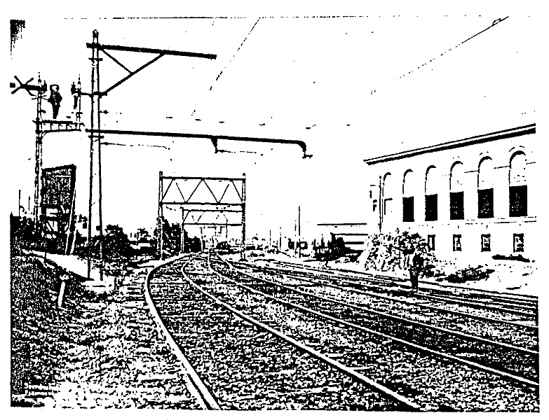 Newmarket railway yards and sub-station during electrification tests (SLV).
