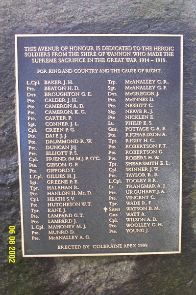 23130 Avenue of Honour Coleraine plaque 1276