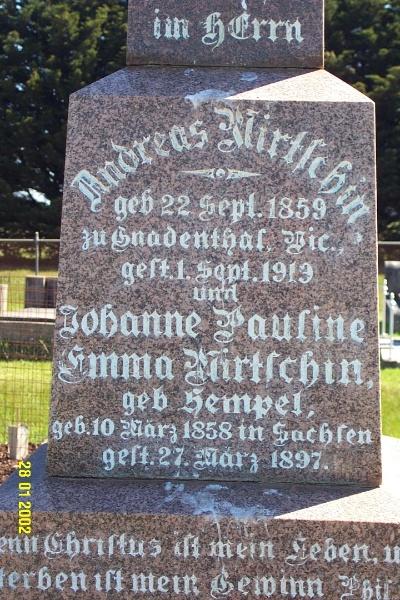 23443 Gnardenthal Cemetery Penshurst Mirtschen Hempel 1457