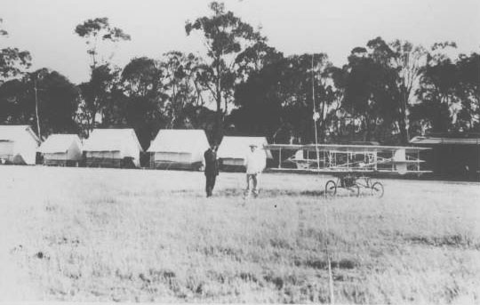 (J.T. Collins Collection, La Trobe Picture Collection, State Library of Victoria) John Moylan's 'Mt. Kororoit' estate, Melton, 1913-1914. (Houdini's plane had been housed in a similar tent a few years before.)