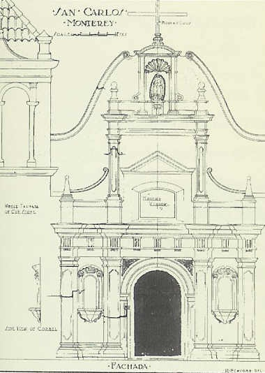 Drawing of San Carlos Church, Monterey, U.S.A. in The Western Architect, 1921. Source: M. Freeman, The Early Canberra House, Living in Canberra 1911-1933, The Federal Capital Press of Australia, Fyshwick, 1996, p.97.