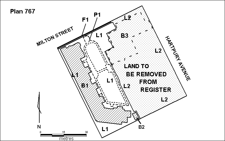 H0767 hartpury court h767 plan showing land deleted 2000