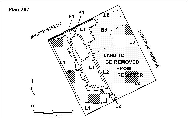 H0767 hartpury court h767 plan showing land deleted 2000