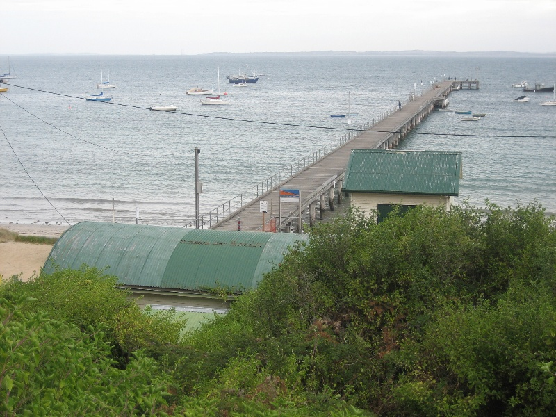 Jetty & shed - view from hill, Jan 2008