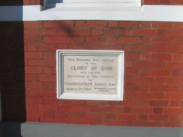 Salvation Army Hall Plaque, 710 High Street, Thornbury