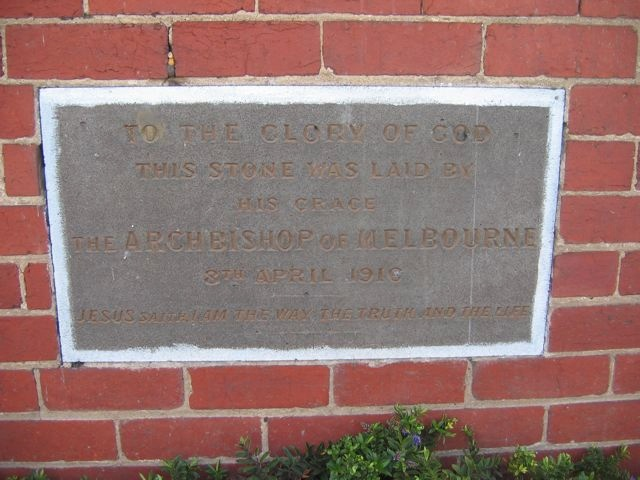 St Paul's Anglican Church, 88a Station Street: Plaque Detail