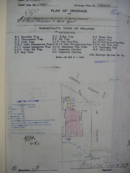1911 MMBW Plan of Drainage for 4 Coonil Crescent.