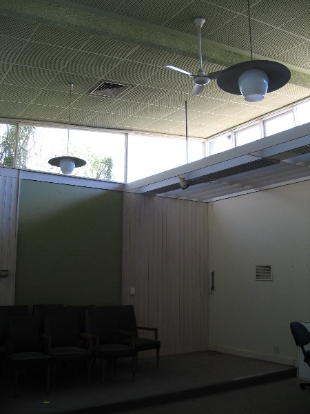 Former Shire Offices_Benalla_COuncil chamber with lights, sunshade, seats_KJ_5/9/08