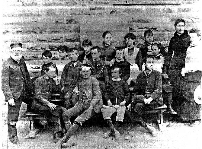 50 - Eltham Primary School Dalton St_05 - Old photograph showing headmaster David Clark and Pupils (ELHOC No.642) - Shire of Eltham Heritage Study 1992