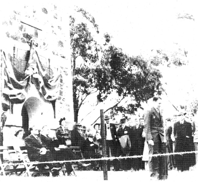 68 - War Memorial and Components Eltham Yarra Gl Rd_04 - Dedication of the 1939-1945 War Memorial on 16 November 1951 by the Governor of Victoria Sir Dallas Brooks ELHPC No. 410 - Shire of Eltham Heritage Study 1992