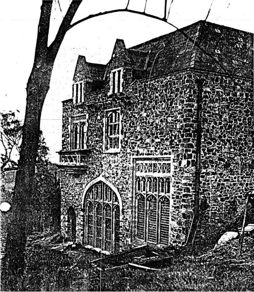 133 - Montsalvat Hillcrest Ave Eltham - Main (south) Facade of the Great Hall, photographed in 1949? - NOTE the secondhand windows, slate roof and the local stone walls - Shire of Eltham Heritage Study 1992