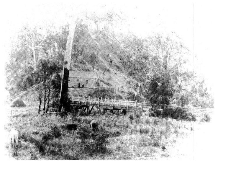 142 - Concrete Arch Bridge Hurstbridge 12 - Hurst's first bridge photograped in 1885 (ELHPC No.1012) - Shire of Eltham Heritage Study 1992