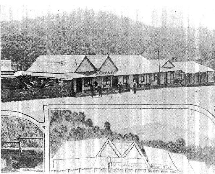 166 - St Andrews Hotel Palm KangGround St Andrews Rd 02 - 'The Leader', 2 November, 1929 - the existing hotel and adjacent shop buildings are clearly evident in this photograph - NOTE the young Canary Island Palm tree (ELHPC NO.163) - Shire of Eltham Heri