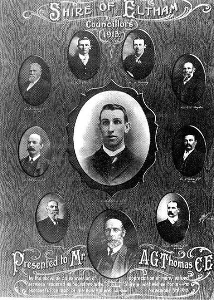 172 - Pigeon Bank Residence Kangaroo Ground 03 - Shire of Eltham Councillors in 1913 - Ewan Cameron bottom left (ELHPC NO.755) - Shire of Eltham Heritage Study 1992