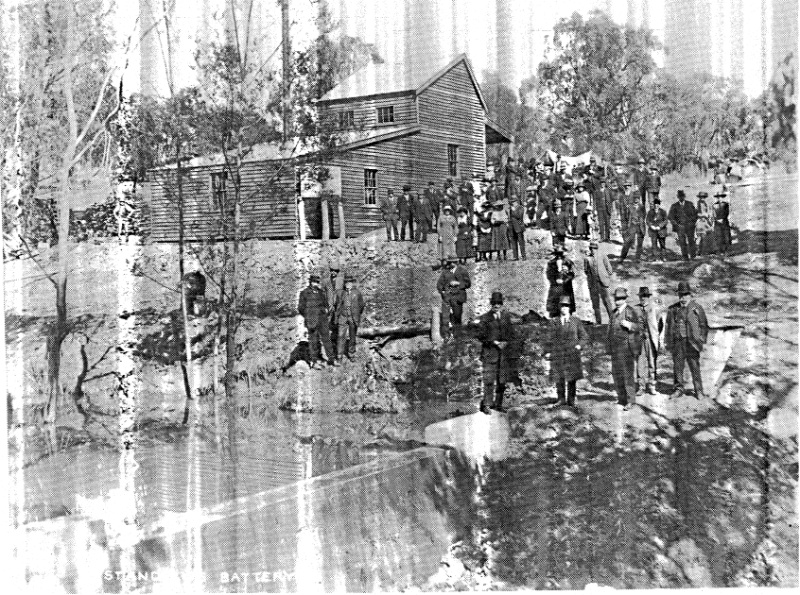 264 - State Battery Remans Smiths Gully 02 - Opening of the Queenstown circa 1910; it was burnt down in the 1962 bushfires and the dam and some machinery bases are all that survive - the photograph on the first page of this evaluation shows the same view
