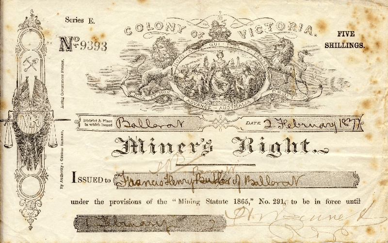 H2112 Miners Right Ballarat 1877