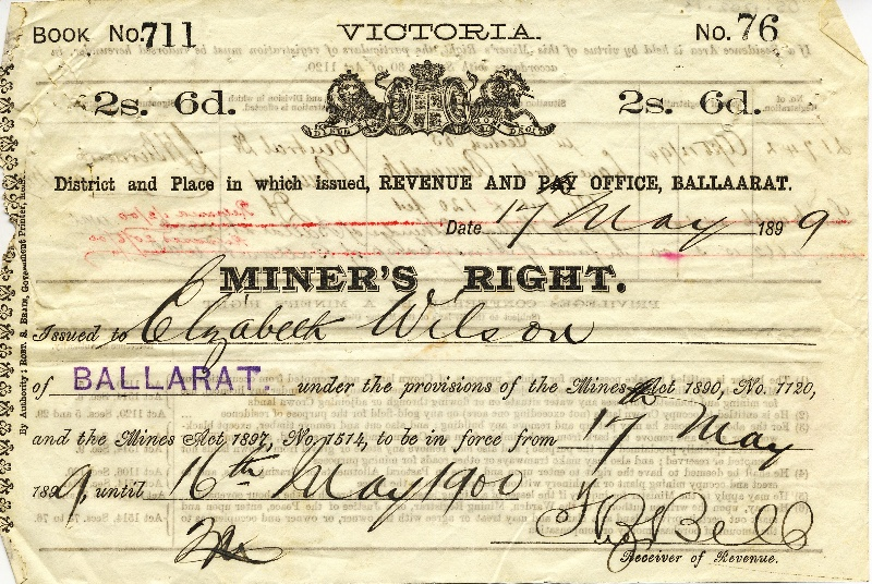 H2112 Miners Right Ballarat 1899