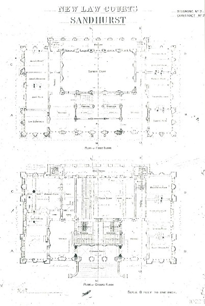 Bendigo Law Courts historic drawings