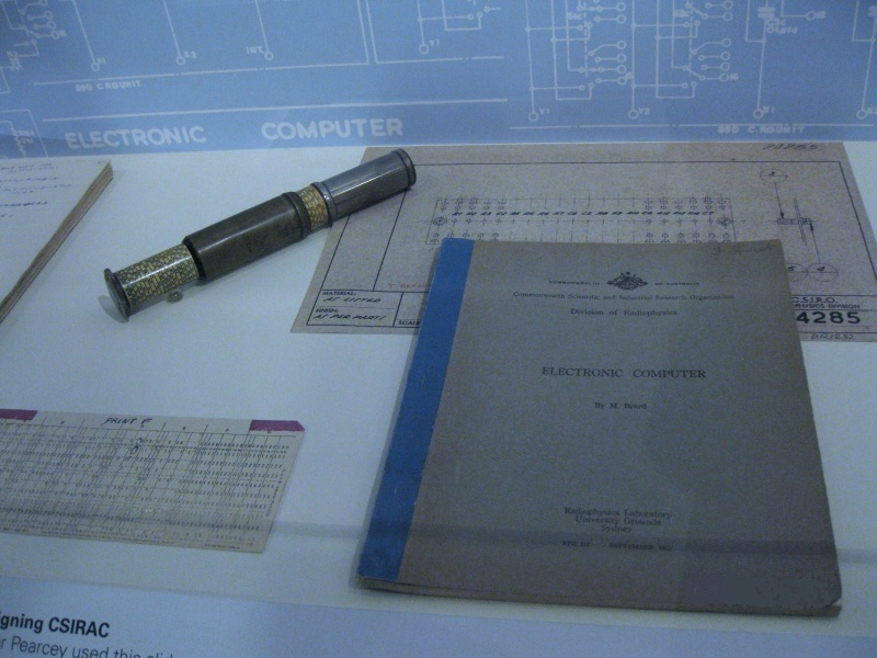 PROV H2217 CSIRAC material on display including slide rule and M. Beard publication