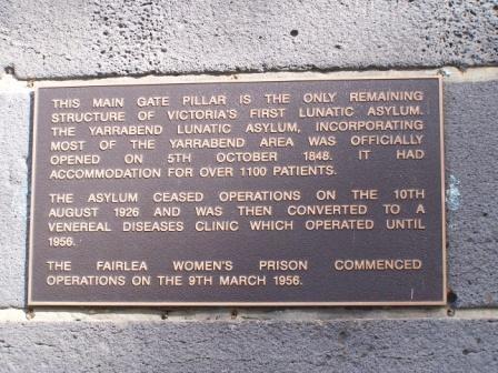 Yarra Bend Lunatic Asylum site - Plaque