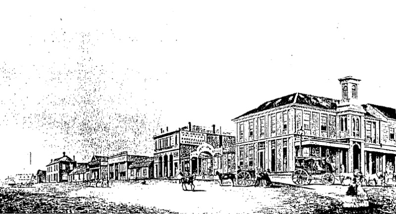 Craigs Royal Hotel02 - Lydiard St 1859 with the first wing (1853) behind a 'Turkish' Canopy and the two storey apparently prefabricated timber section (late 1853). At left is a two storey building, the now only extant building shown in this picture (42 Ly