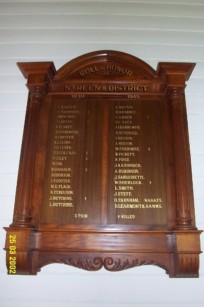 23136 Nareen Public Hall honour board 1935