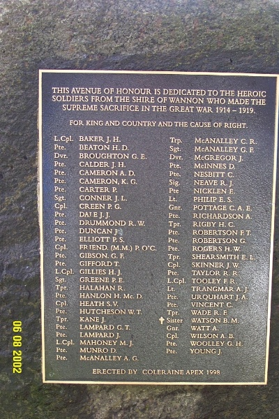 23130 Avenue of Honour Coleraine plaque 1275