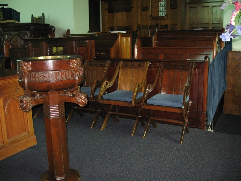 124816 Presbyterian Church Malvern font and chairs in sanctuary 2010