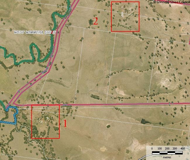 Location of two parts of Heritage Overlay (1 - Homestead) and (2 - Woolshed)