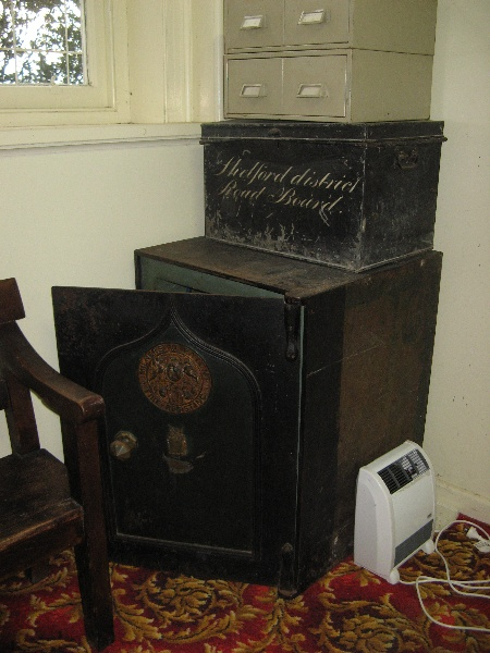 Former Leigh Shire Hall safe and road board trunk