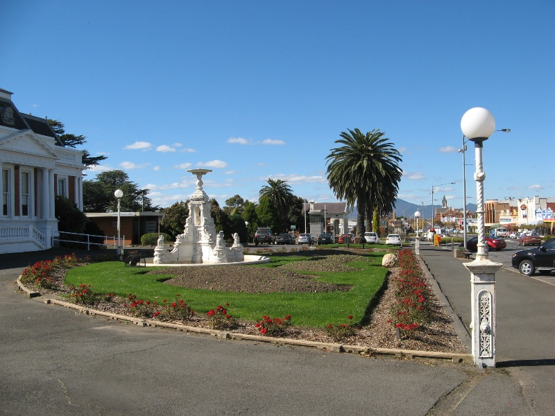 Ararat Civic Precinct Boer War Memorial lamp post and palms